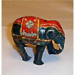 "Antique ""Jumbo the Elephant"" toy from Barnum and Bailey Circus illustrates article about new Jumbo Loans"